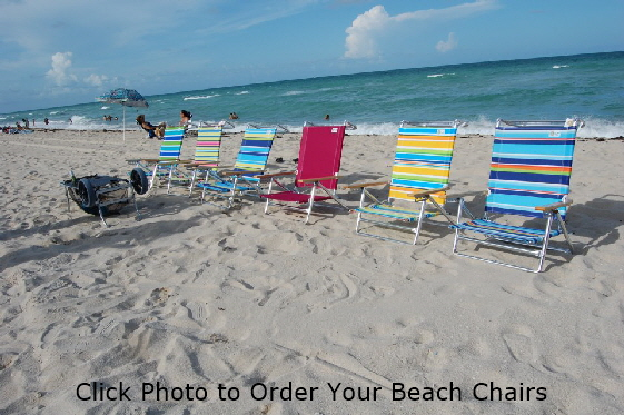 Beach chairs on beach